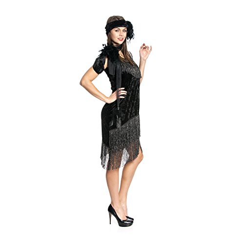 Kostümplanet® Charleston-Kostüm Damen deluxe schwarz 1920er Vintage sexy Charleston Kleid 20er mit Stirnband Größe (Damen 1920er Kostüm Jahre)
