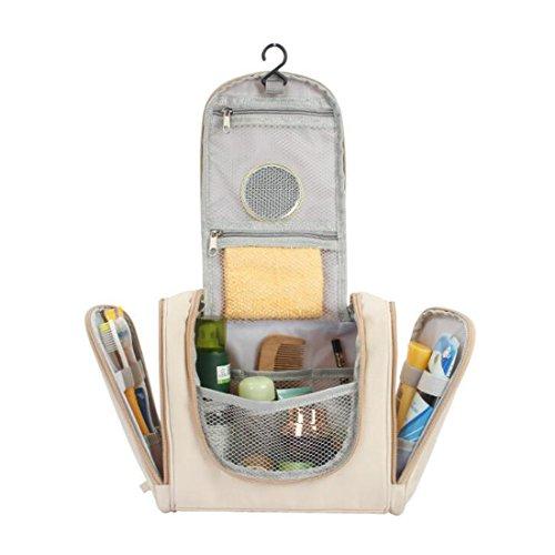 onale Reise Kulturbeutel Extra große Make-up Veranstalter Wasserdicht Dusche Wash Bag Kosmetische Make-up Rasur Kit Lagerung Travel Kit Pack mit Haken (Farbe : Rose rot) ()
