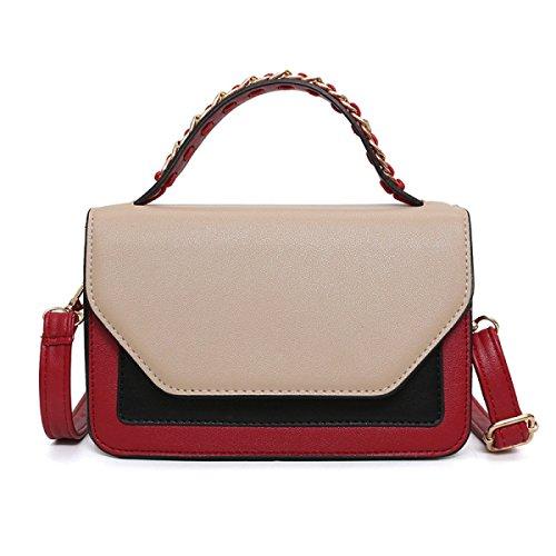 FZHLY New Hit Farbe Kleine Quadratische Tasche Damenmode Umhängetasche Beige