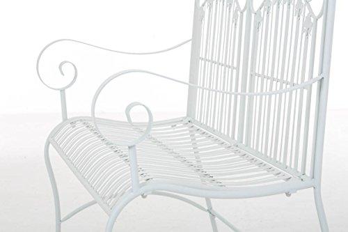 CLP Metall-Gartenbank RONJA im Landhausstil, Eisen lackiert, 108 x 55 cm, 2er Sitzbank Weiß - 7