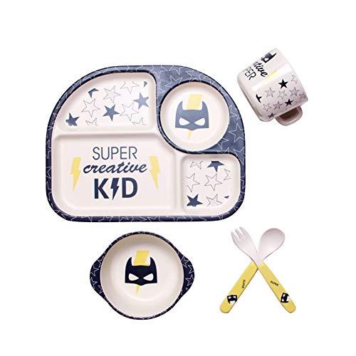 5-teiliges Geschirr-Set für Kinder, Bambus, umweltfreundlich, Cartoon-Design, Teller, Schüssel, Tasse, Löffel und Gabel, 5-teiliges Geschirr-Set für Kleinkinder, Kinder, Baby Batman Wie abgebildet