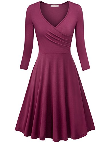 WAJAT Damen Wickelkleid A-Line V-Ausschnitt Casual Vintage Elegante Kleider  Langarm-Purpurot L e528a8709f