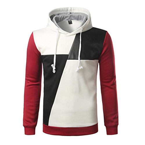 xxl Mantel Greatestpak Langarm Männer Herren Farbe Nähte weiß Tops Hoodie Sport Outwear Jacke wOkuXiPZT