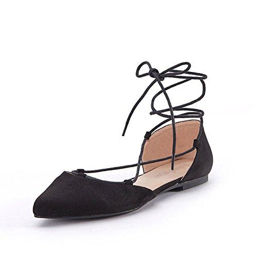 PENGFEI Stiefeletten Schuhe Ballet Tanz Sandalen Frühling Spitze Zehen Riemen Flachboden Damen 2 Farben (Farbe : Schwarz, größe : EU40/UK6.5/L:250mm)