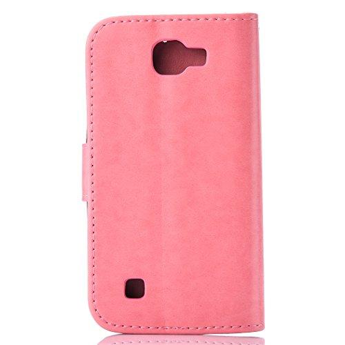 Coque pour Apple iPhone 6/6S(4.7 Zoll) ,Housse en cuir pour Apple iPhone 6/6S(4.7 Zoll) ,Ecoway de gaufrage étui en cuir PU Cuir Flip Magnétique Portefeuille Etui Housse de Protection Coque Étui Case  rose