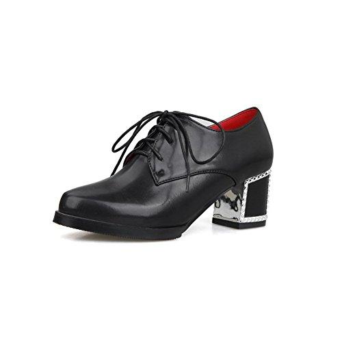 AllhqFashion Femme Lacet à Talon Correct Pu Cuir Couleur Unie Pointu Chaussures Légeres Noir