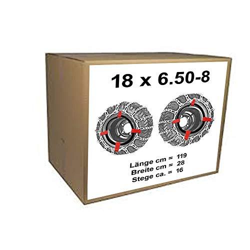 18x6.50-8 Schneeketten + Spanner für Rasentraktor Aufsitzmäher 18 x 6.50-8 (Schneeketten Für Rasentraktor)