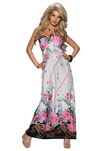 Fashion4Young 4639 robe bandeau à nouer dans le cou pour femme au look maxidress robe disponible en 3 couleurs - Rosa Multicolor