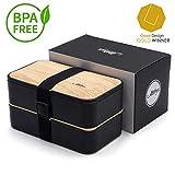 Atthys Lunch Box Bambou Noir   Bento Japonais Design avec 3 Couverts   Bento Box 2 Compartiments Hermétiques 1200 ML   Micro-Ondes & Lave-Vaisselle   Boîte Déjeuner Bois Adultes ou Enfants Premium