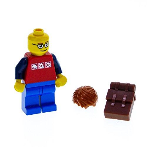 1 x Lego System Figur Mann City Torso rot 3 Silber Logos Arme dunkel blau Hose Beine blau Brille Haare dunkel orange Rucksack braun cty180