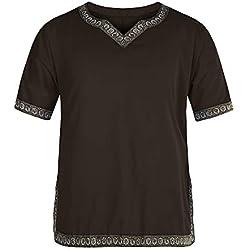 Manga Corta Medieval de Los Hombres Tunica Medieval Camisa con Cuello en V Disfraz Marrón XL