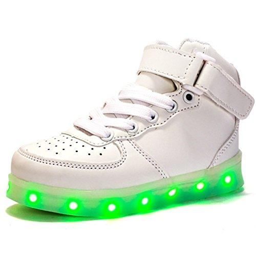 XIANV Kinder Mode leuchtende Schuhe High Top LED Licht USB Charge Blinkende Turnschuhe Kinder Jungen Mädchen Casual Glowing Schuhe Weiß