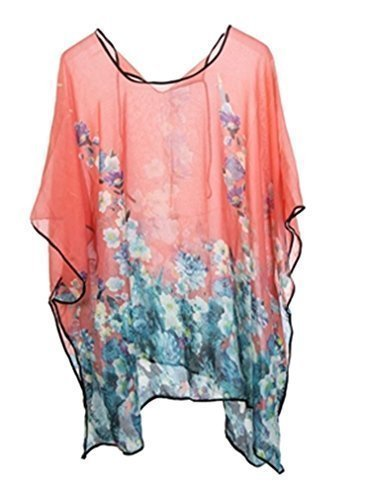 NEW LADIES SMALL FLORAL PRINT BEACH SWIM WEAR BIKINI COVERUP KIMONO KAFTAN ONE SIZE