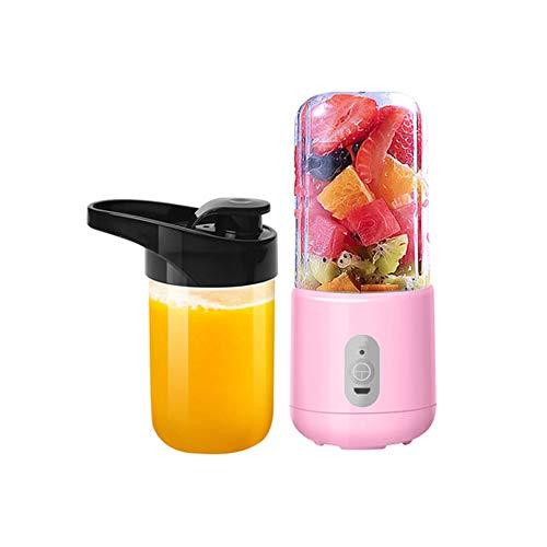 TXDY USB wiederaufladbare Mini Mixer, Haushalts tragbare Juicer Cup 260ML Fruchtsaft-Extraktor und Mixer mit 6 Stück Klingen für Crush Ice, Home Outdoor,Pink