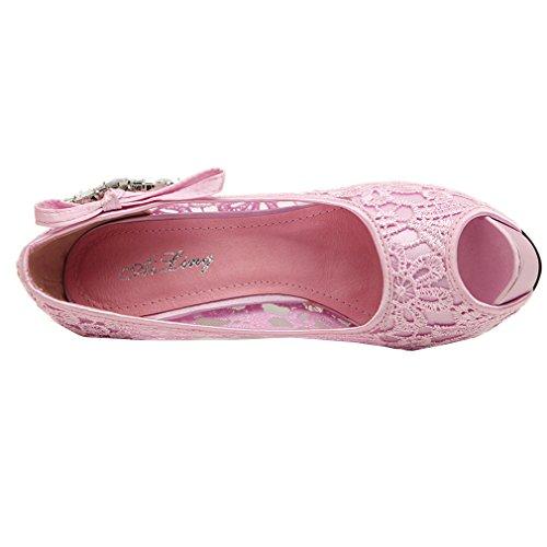 YE Damen Peep Toe Plateau Stiletto High Heel Pumps mit Spitze und Strass Modern Elegant Schuhe Rosa