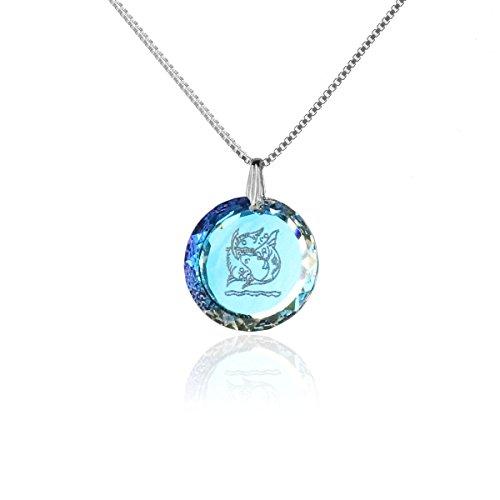 Silberkette Halskette 925 Silber Sternzeichen Tierkreiszeichen Fische Hergestellt mit SwarovskiKristall