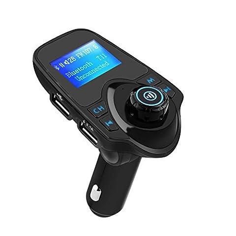 Lenuo Bluetooth 3,0 Wireless FM Transmitter Auto USB Ladegerät mit 2 USB Ports KFZ MP3 Player mit 3,5 mm AUX TF Kartenslot Hands-free car kit für iPhone 7, iPhone 6S Plus/5S, Samsung......