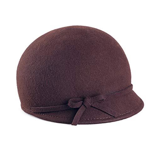 OLADO Cappelli in Feltro Primaverile per Donna Lana Fedora Floppy Bowknot Grigio Nero Casual Knight Top cap