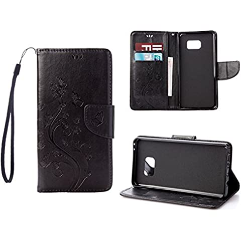 RanRou Galaxy Note 7 Funda Leather Funda [Butterfly Flower Pattern],Samsung Galaxy Note 7 Funda Flip PU Leather Wallet Card Slot Stand Funda Cover For Samsung Galaxy Note 7 Funda -black