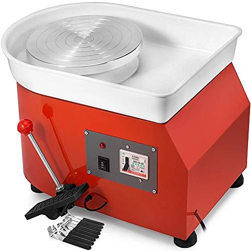 Techlifer macchina elettrica della ruota di ceramica a basso rumore 25 cm kit di utensili modellatura ceramica per diy (maniglia e pedale)