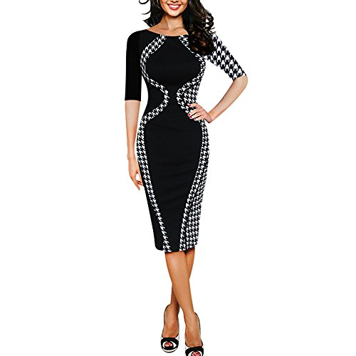 TUDUZ Damen Elegant Faschingskostüme Bodycon Kurzarm Party Business Style Pencil Minikleid...