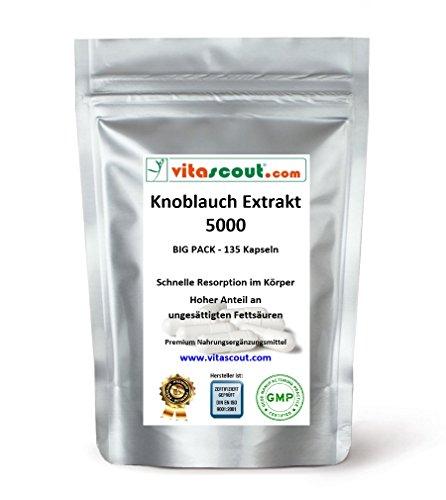 Knoblauch 135 Kapseln je 5000mg (=Extrakt 50mg 100:1) HOCHDOSIERT / Garlic - PREMIUMQUALITÄT von VITASCOUT®