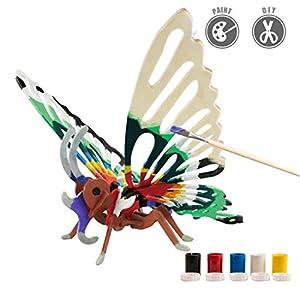 Riva776Yale DIY 3D Einhorn-Form Holz Puzzle Simulation Tier Montage Spielzeug Pädagogisches Spielzeu mit 5-Farben-Pigment