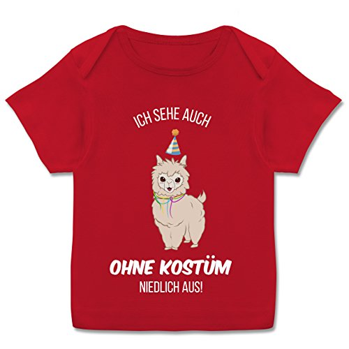 Karneval und Fasching Baby - Ich Sehe auch ohne Kostüm niedlich aus Lama - 56-62 (2-3 Monate) - Rot - E110B - Kurzarm Baby-Shirt für Jungen und Mädchen (Niedliche 60 Kostüm)