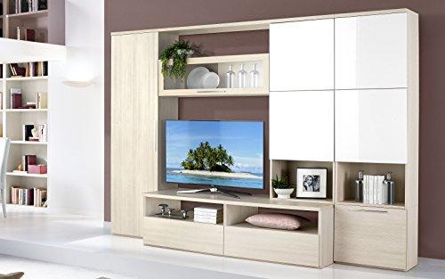 Wohnzimmerwand Kiefer klar, weiß lackiert, 300cm