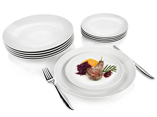 Sänger Dinner Service New Port aus Porzellan 12 teilig | Tellerset bestehend aus 6 Speisetellern und Desserttellern | Tafelservice für 6 Personen Dinner-service