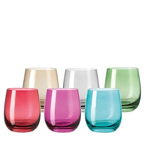 Leonardo Sora Becher klein farbig sortiert, 6-er Set, 360 ml, verschiedenfarbige Gläser mit Colori-Hydroglasur, 047289 Farbige Gläser