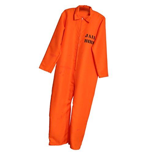 er Entflohener Häftling Kostüm, Overall - Erwachsene (Kind Gefangener Kostüm)