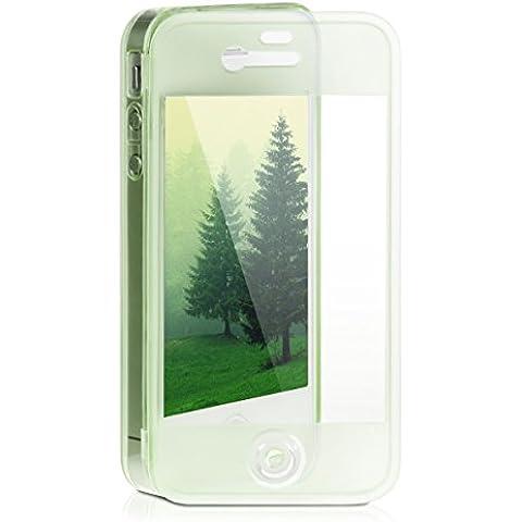 kwmobile Practical cuerpo completo de protección de TPU silicona para el Apple iPhone 4 / 4S en Verde - protección real completa para su Apple iPhone 4 /