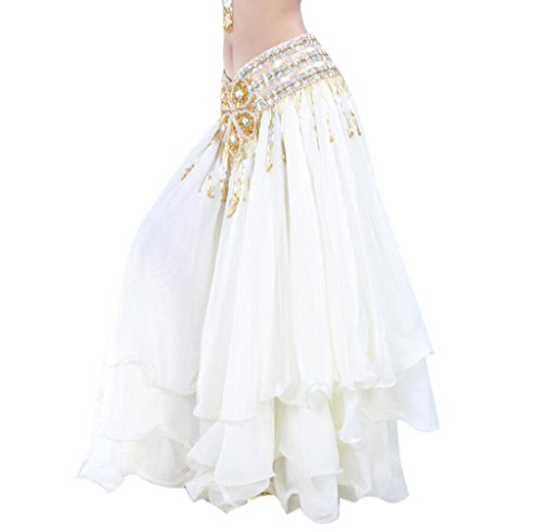 ered Swing Rock Moderne Bauchtanz Kostüm Full Circle Dress (Nicht Inklusive Gürtel) - Weiß (Bauchtanz Renaissance Kostüme)