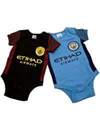 Official Manchester City Baby Kit Bodysuits - 2 Pack - 2016/17 Season (6-9m)