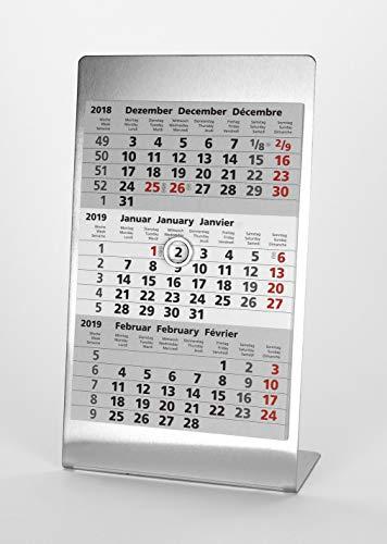 HiCuCo 3-Monats-Tischkalender für 2 Jahre (2020 und 2021) - Aufstellkalender - Edelstahl - TypA3