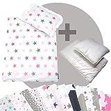 rawstyle 4pezzi Baby Set di biancheria da letto per carrozzina (grigio + Gatto Nero) Biancheria da letto set copripiumino + Cuscino + imbottitura