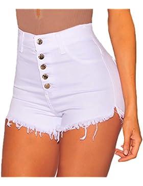Simple-Fashion Estivo Donne Moda Pantaloncini a Vita Alta Spiaggia Jeans Shorts con Bottoni Strette Irregular...