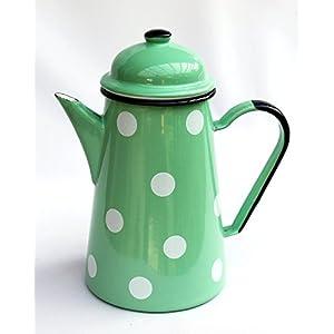 DanDiBo Kaffeekanne 578TB Hellgrün mit weißen Punkten 1,0 L emailliert 22cm Wasserkanne Kanne Gießkanne Emaille