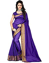 Tagline Women's Cotton Saree With Blouse Piece (Tag20009 ,Blue,Free Size)