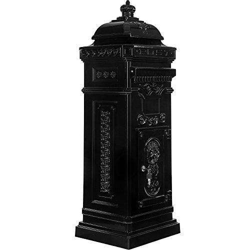 Maxstore Antiker englischer Standbriefkasten, rostfreies Aluminium, Höhe: 102,5 cm, Farbe: Anthrazit, 3 Jahre Garantie anthrazit