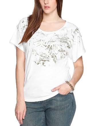 TRIANGLE Damen T-Shirt 18.404.32.5280, Einfarbig, Gr. 50, Weiß (white placed print 01D0)