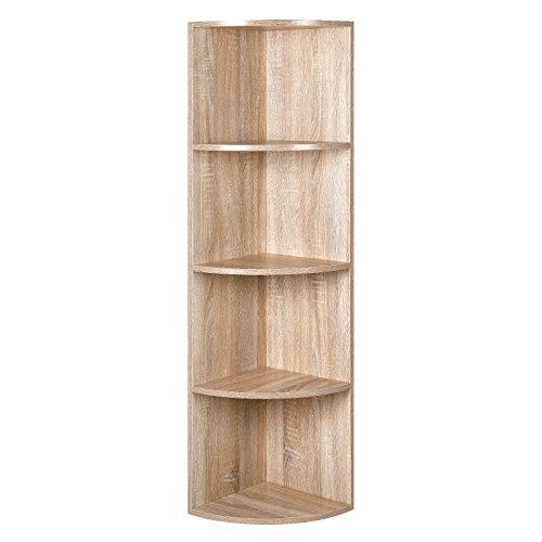 SONGMCS 4 Ebenen Eckregal, Standregal, Bücherregal aus Holz, für Küche, Schlafzimmer, Wohnzimmer, Büro, Farbton Eiche, LBC42NL (Eiche Bücherregal Wohnzimmer)