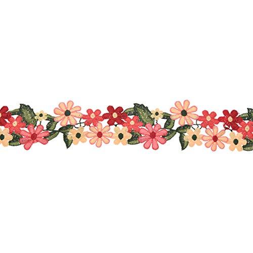 Hongma Spitzenband Spitzenbordüre Blumenband farbig Band Nähen Hochzeit Party Dekor 1 Yard