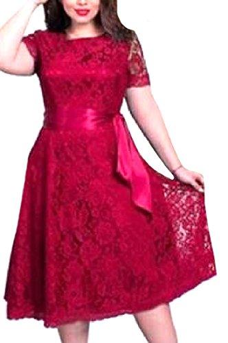 Hem Midi Skirt (CuteRose Women's Leisure Oversize Short-sleeve Straps Lace Hem Midi Long Dress Wine Red XL)