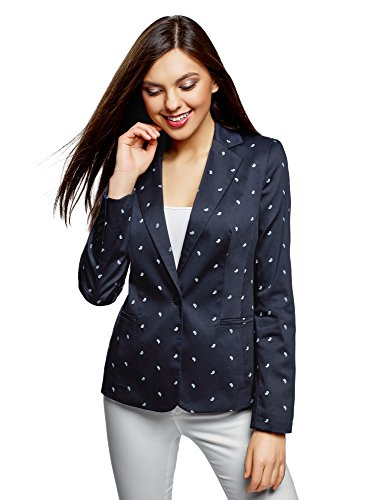 oodji Collection Women Basic Fitted Jacket, Blue, ES 42 / L