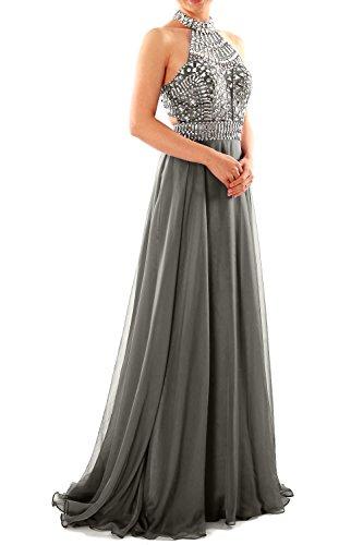 MACloth Women Halter High Neck Sleeveless Long Prom Party Dress Evening Gown Grau