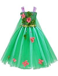 CHICTRY Robe Fleurie Robe de Princesse déguisement Princesse Fille Robe  avec Ceinture 4-10 Ans 90559b86089