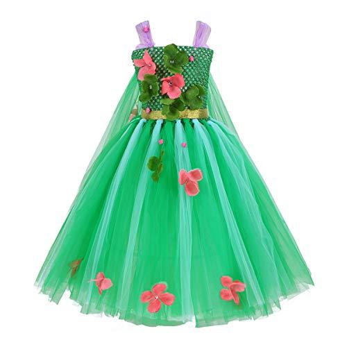 Kostüm Eis Halloween Prinzessin - iixpin Mädchen EIS Prinzessin Halloween Bekleidung mit Tütü Rock Grün Kleider Performance Kleid Faching Verkleidung Karnevalskostüm Gr.98-140 Grün 98-104