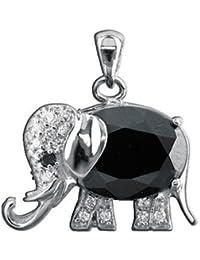 Anhänger AE finesse, 925 Silber - Sterling Silber, Zirkonia schwarz / Elefant